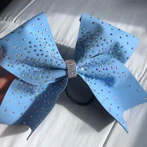 💎light blue rhinestone cheer bow💎